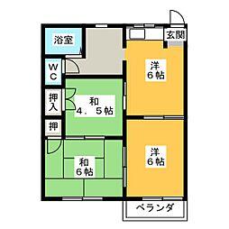 フォーブル花村B[2階]の間取り