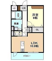 愛知県名古屋市千種区宮根台1丁目の賃貸マンション 8階1LDKの間取り