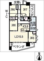 バンベール星ヶ丘ヒルズ212号[2階]の間取り