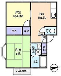 富士見ハイツB[2階]の間取り