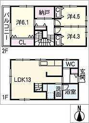 [タウンハウス] 愛知県西尾市中畑町宮前 の賃貸【/】の間取り