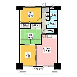 カニエ中央ハイツ[4階]の間取り