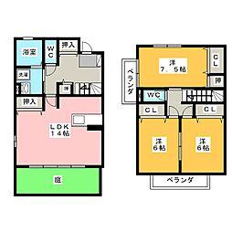 [テラスハウス] 愛知県名古屋市北区東長田町4丁目 の賃貸【/】の間取り