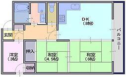 シャトー天理 3階3DKの間取り