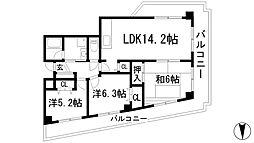 サンライズ(上池田)[5階]の間取り