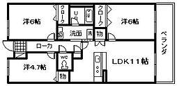 大阪府貝塚市脇浜3丁目の賃貸マンションの間取り