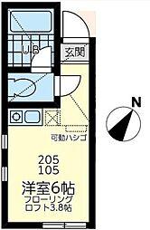 神奈川県川崎市幸区小向仲野町の賃貸アパートの間取り