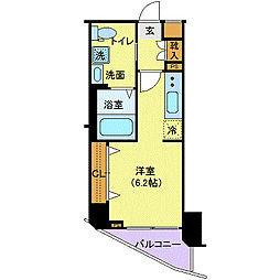 JR埼京線 板橋駅 徒歩5分の賃貸マンション 4階ワンルームの間取り