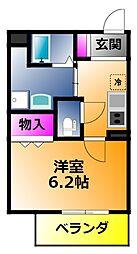アームスコート若江岩田 6階1Kの間取り