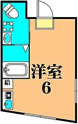 ラピス椎名町 4階ワンルームの間取り