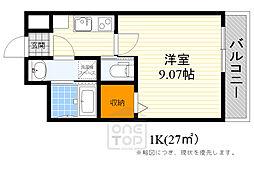 モダンアパートメント江坂町 5階1Kの間取り