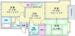 JR東北本線 南仙台駅 徒歩16分の賃貸アパート 2階3DKの間取り