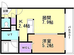 KCU弐番館 2階1LDKの間取り