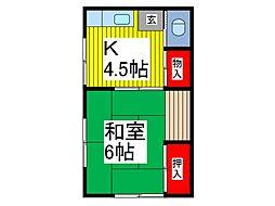 神藤荘 2階1Kの間取り