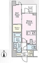 グランリビオ芝大門 8階1DKの間取り