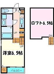 JR仙石線 中野栄駅 徒歩8分の賃貸アパート 1階1Kの間取り