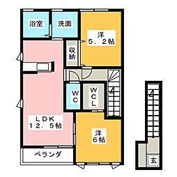 ポラリス A棟[2階]の間取り