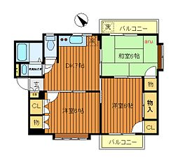 東京都三鷹市牟礼5丁目の賃貸マンションの間取り