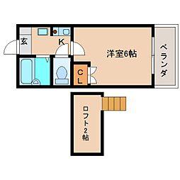 奈良県奈良市百楽園1丁目の賃貸アパートの間取り