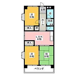 第2グリーンマンションハットリ[3階]の間取り