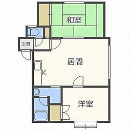 北海道札幌市中央区宮の森三条4丁目の賃貸アパートの間取り