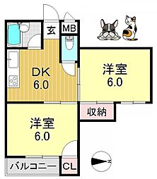 ボナール平野[3O1号室号室]の間取り
