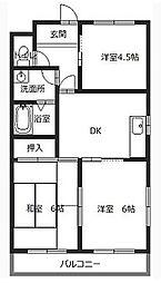兵庫県姫路市勝原区大谷の賃貸アパートの間取り