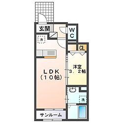 JR内房線 袖ヶ浦駅 バス5分 今井下車 徒歩3分の賃貸アパート 1階1LDKの間取り