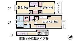 愛知県名古屋市名東区神月町の賃貸アパートの間取り