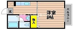 JR山陽本線 新倉敷駅 3.4kmの賃貸アパート 2階1Kの間取り