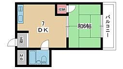 大阪府豊中市宝山町の賃貸マンションの間取り