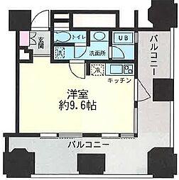 ルネ新宿御苑タワー 5階ワンルームの間取り