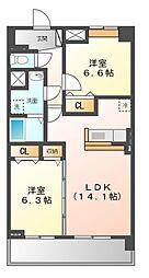 愛知県名古屋市緑区鳴海町字御茶屋の賃貸マンションの間取り