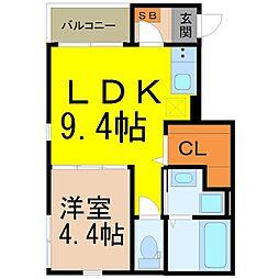 愛知県名古屋市中村区深川町3丁目の賃貸アパートの間取り
