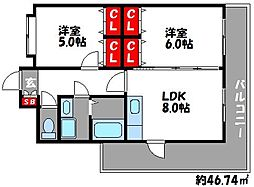 ボンシャンス[5階]の間取り