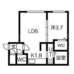 北海道札幌市中央区南十条西7丁目の賃貸マンションの間取り