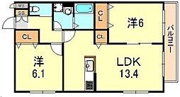 ヘーベルマンション大久保I[2階]の間取り