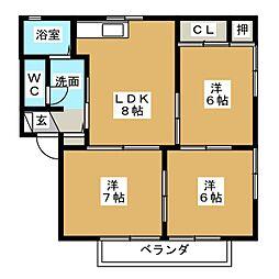 ヒルサイド香久山 B棟[2階]の間取り
