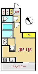 MODERN PALAZZO 大濠スクエア 8階ワンルームの間取り