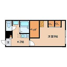 近鉄京都線 平城駅 徒歩14分の賃貸マンション 2階1Kの間取り