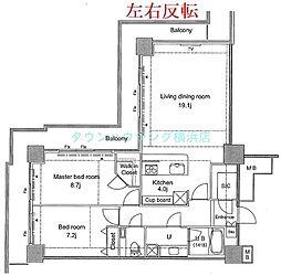 パシフィックロイヤルコートみなとみらいアーバンタワー 26階2LDKの間取り