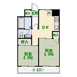 ファインクロス四番館[5階]の間取り