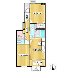 JR飯山線 飯山駅 徒歩27分の賃貸アパート 1階2DKの間取り