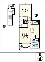 愛知県名古屋市港区惟信町2丁目の賃貸アパートの間取り