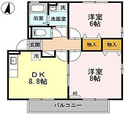 広島県福山市千田町2の賃貸アパートの間取り