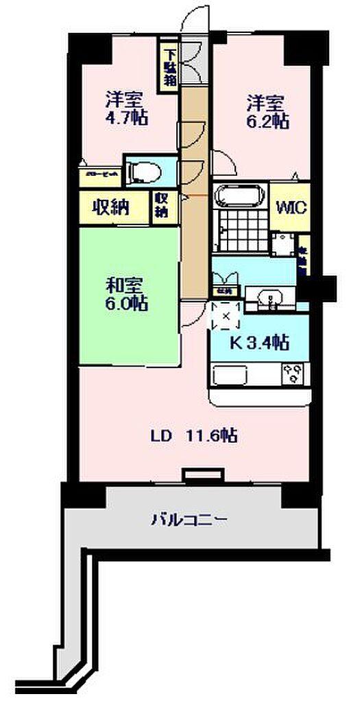 間取り(71.82m2の3LDKマンション)