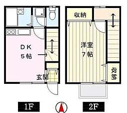 東京都荒川区西日暮里2丁目の賃貸アパートの間取り