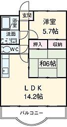 愛知県安城市二本木町荒田の賃貸マンションの間取り
