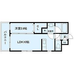 サンシャイン太子堂 2階1LDKの間取り
