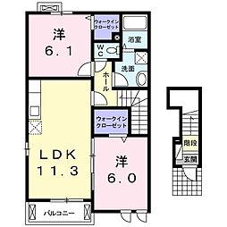 静岡県磐田市高見丘の賃貸アパートの間取り